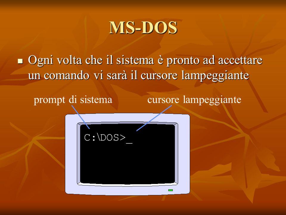 MS-DOS Ogni volta che il sistema è pronto ad accettare un comando vi sarà il cursore lampeggiante. prompt di sistema cursore lampeggiante.