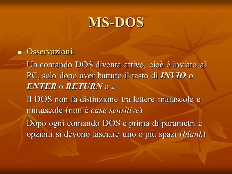 MS-DOS Osservazioni: Un comando DOS diventa attivo, cioè è inviato al PC, solo dopo aver battuto il tasto di INVIO o ENTER o RETURN o 