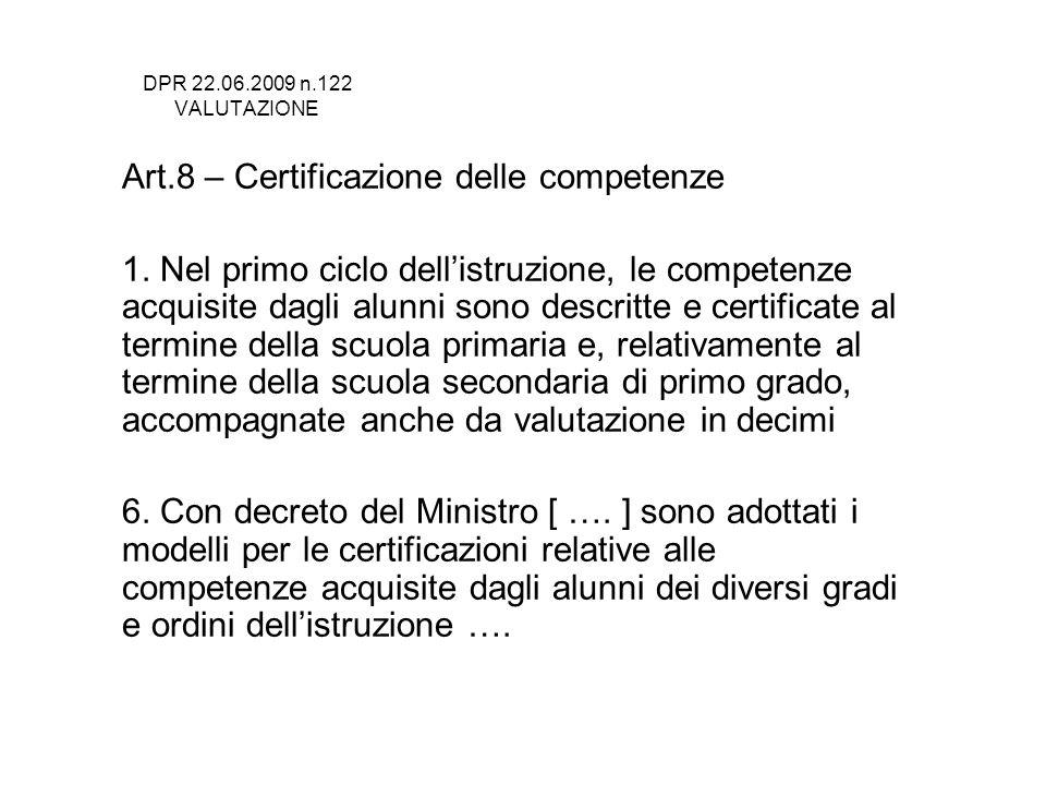 Art.8 – Certificazione delle competenze
