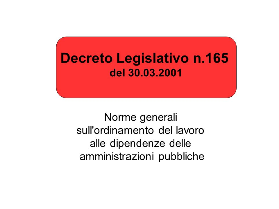 Decreto Legislativo n.165 del 30.03.2001