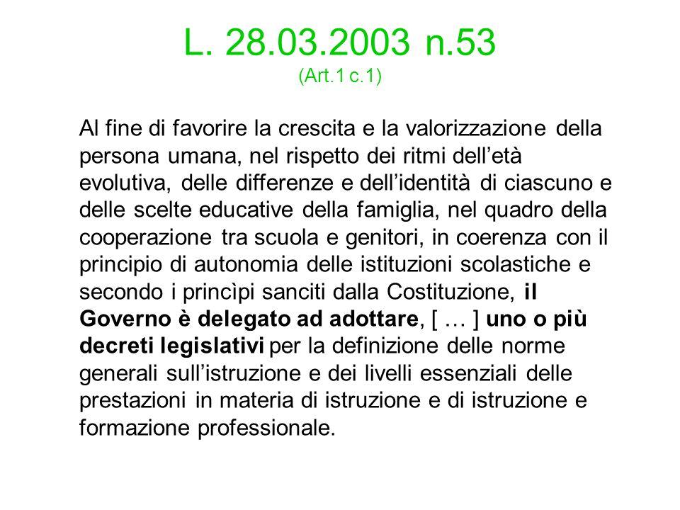 L. 28.03.2003 n.53 (Art.1 c.1)