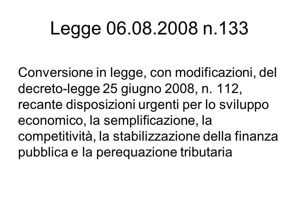 Legge 06.08.2008 n.133
