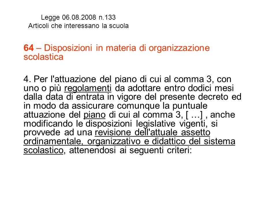 Legge 06.08.2008 n.133 Articoli che interessano la scuola