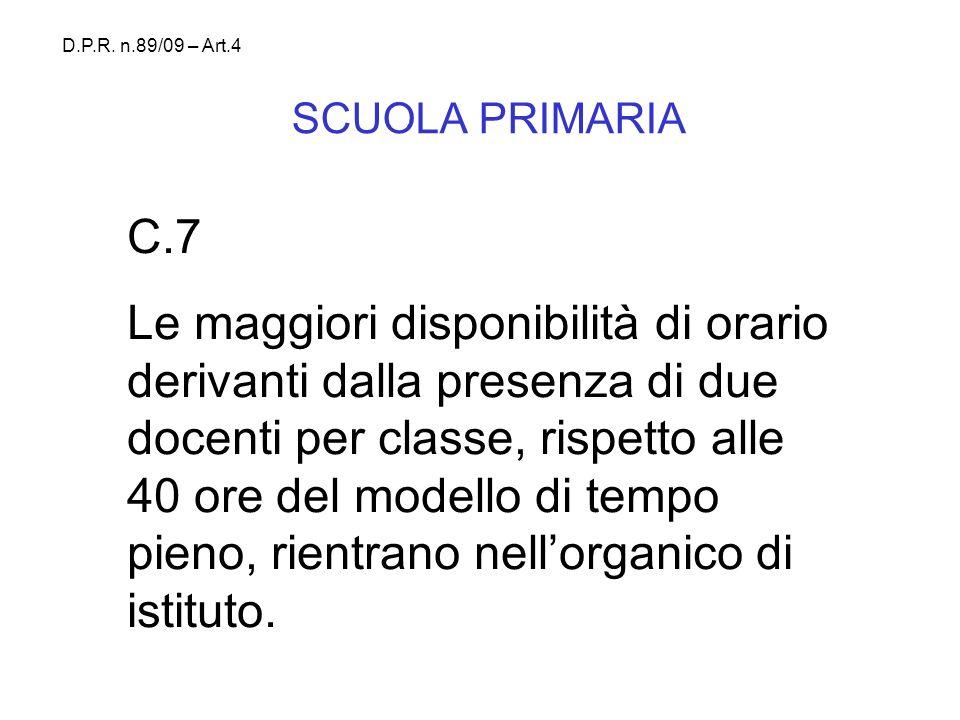 D.P.R. n.89/09 – Art.4 SCUOLA PRIMARIA. C.7.