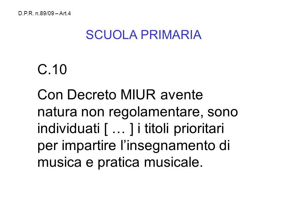 D.P.R. n.89/09 – Art.4 SCUOLA PRIMARIA. C.10.