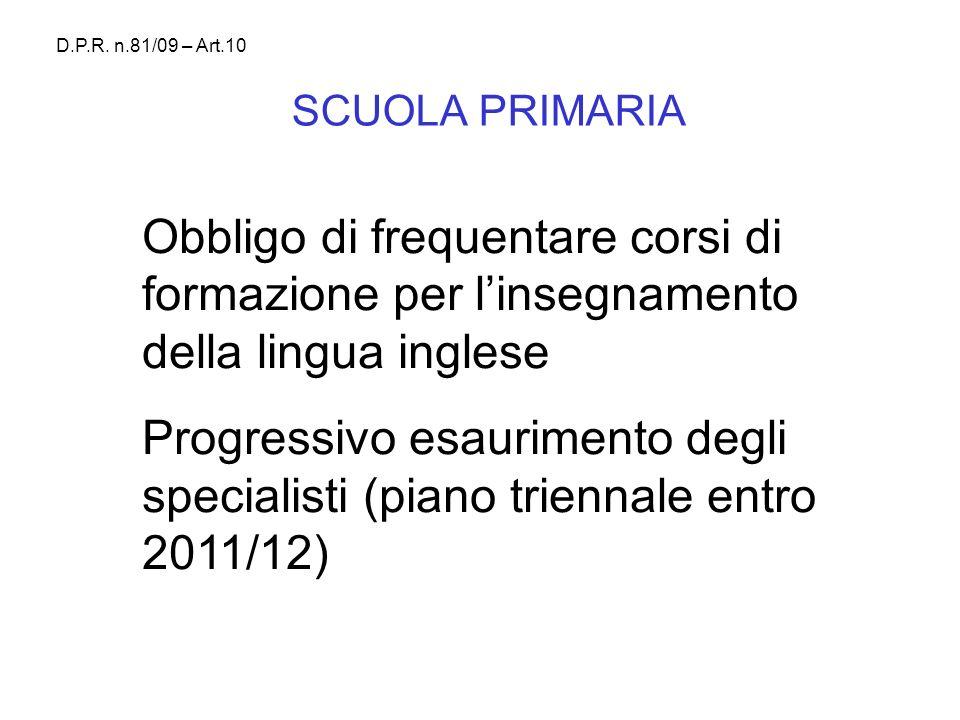D.P.R. n.81/09 – Art.10 SCUOLA PRIMARIA. Obbligo di frequentare corsi di formazione per l'insegnamento della lingua inglese.