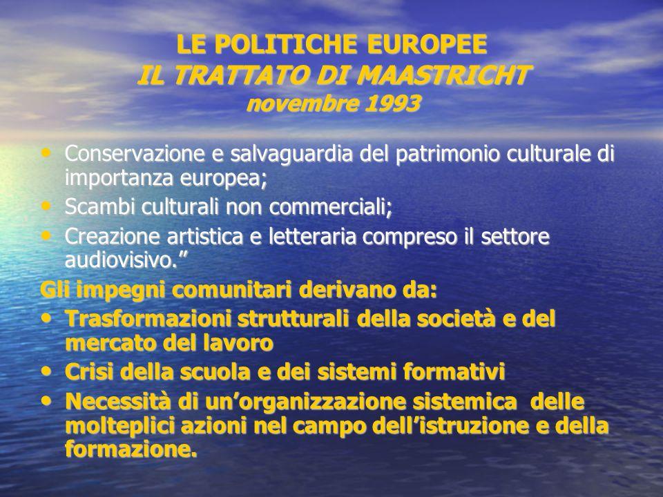 LE POLITICHE EUROPEE IL TRATTATO DI MAASTRICHT novembre 1993