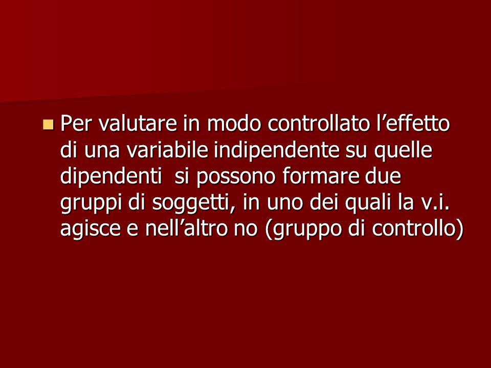 Per valutare in modo controllato l'effetto di una variabile indipendente su quelle dipendenti si possono formare due gruppi di soggetti, in uno dei quali la v.i.