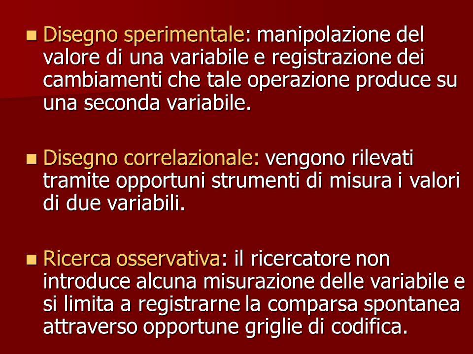 Disegno sperimentale: manipolazione del valore di una variabile e registrazione dei cambiamenti che tale operazione produce su una seconda variabile.