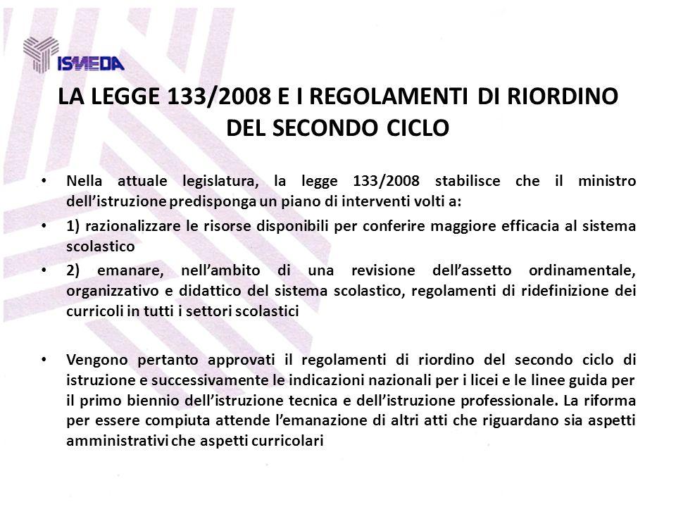 LA LEGGE 133/2008 E I REGOLAMENTI DI RIORDINO DEL SECONDO CICLO