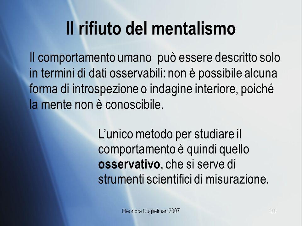 Il rifiuto del mentalismo