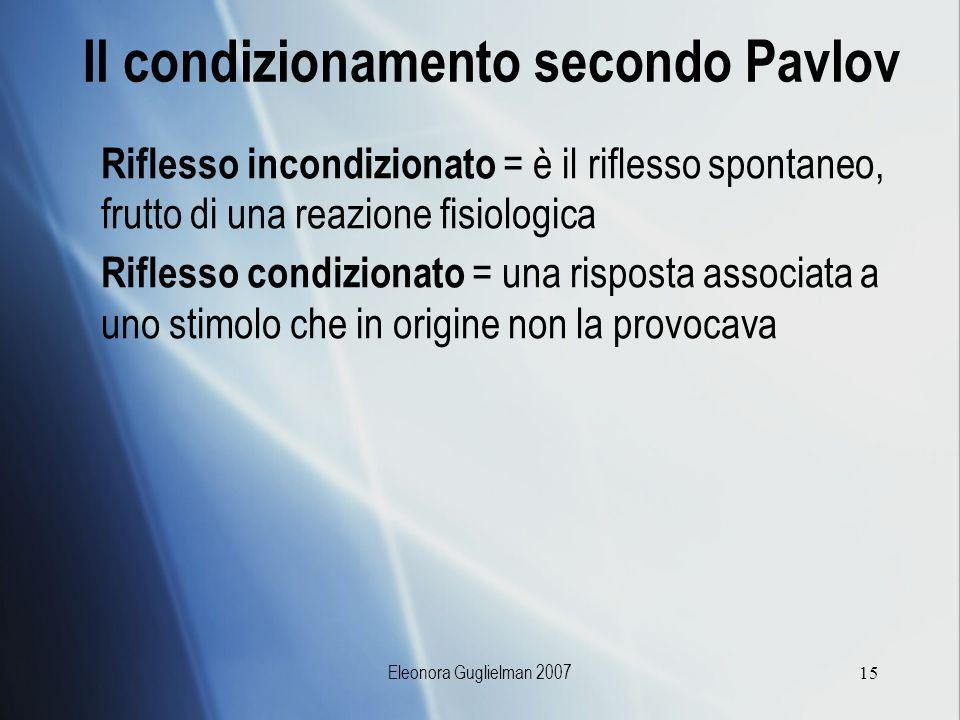 Il condizionamento secondo Pavlov