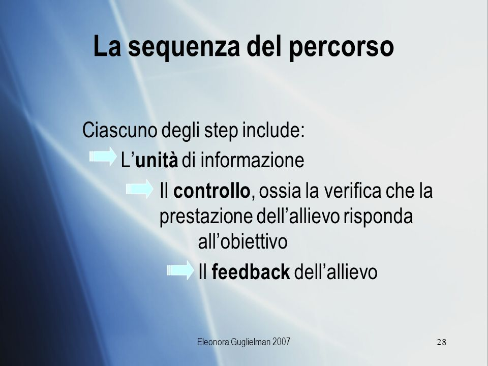 La sequenza del percorso