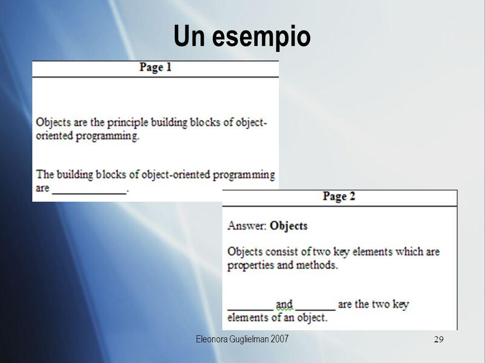 Un esempio Eleonora Guglielman 2007