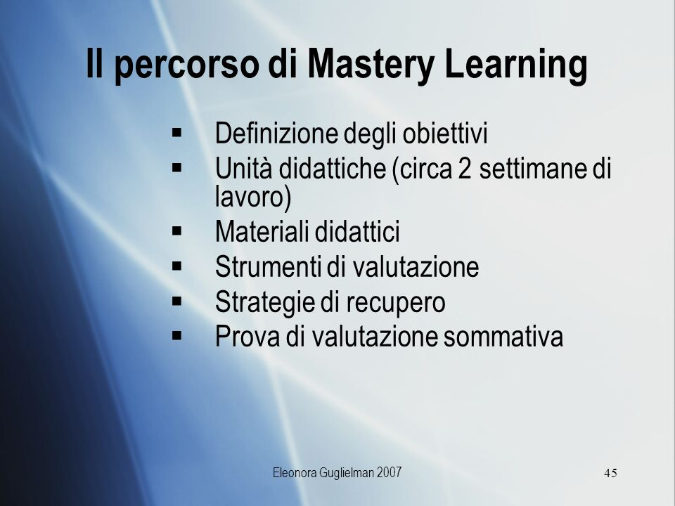 Il percorso di Mastery Learning