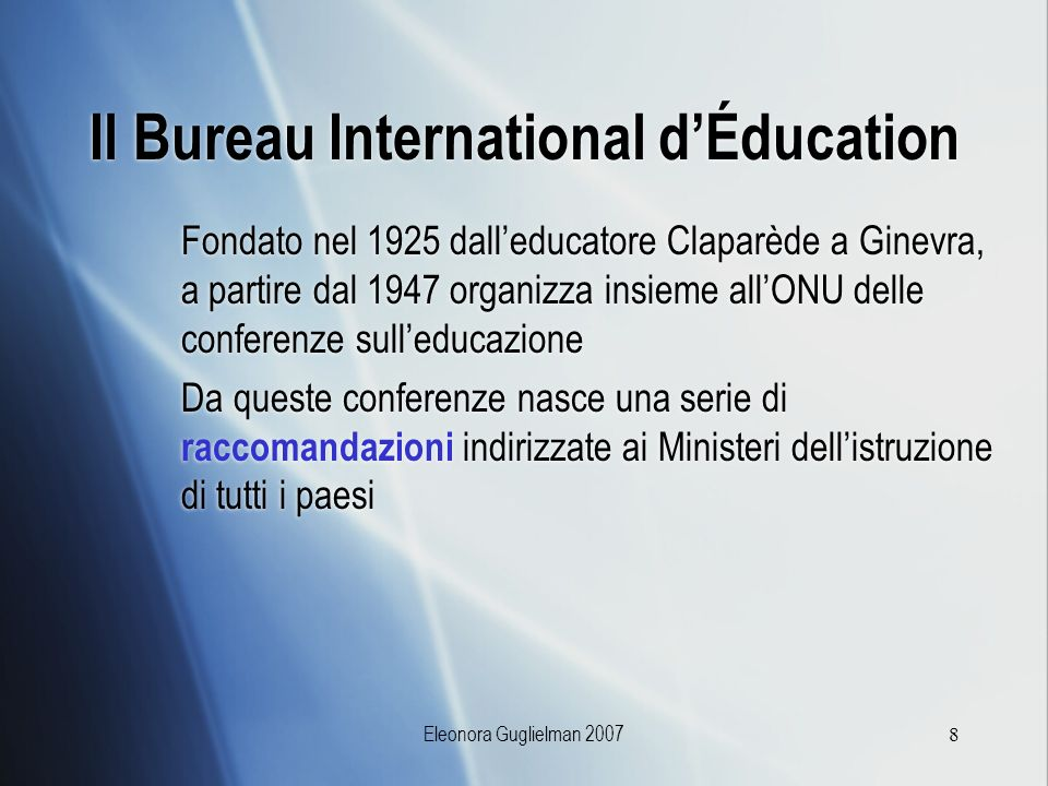 Il Bureau International d'Éducation