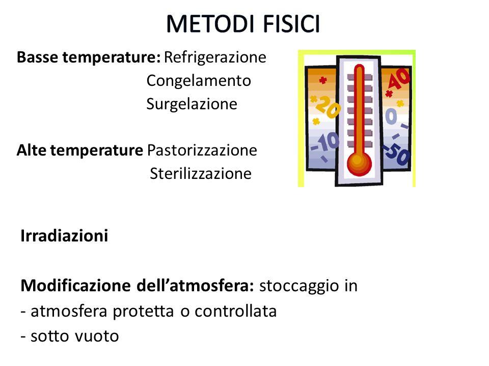 METODI FISICI Irradiazioni Modificazione dell'atmosfera: stoccaggio in