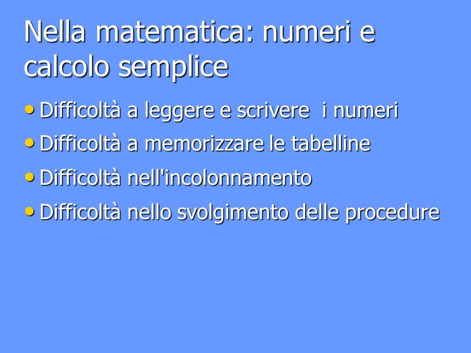 Nella matematica: numeri e calcolo semplice