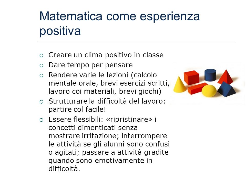 Matematica come esperienza positiva