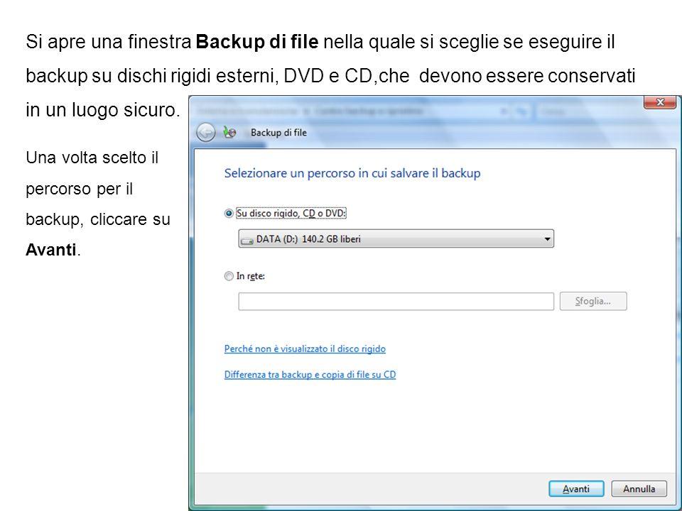 Si apre una finestra Backup di file nella quale si sceglie se eseguire il backup su dischi rigidi esterni, DVD e CD,che devono essere conservati in un luogo sicuro.