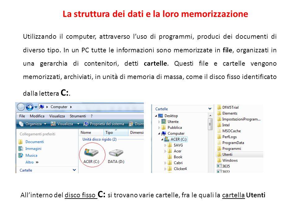 La struttura dei dati e la loro memorizzazione