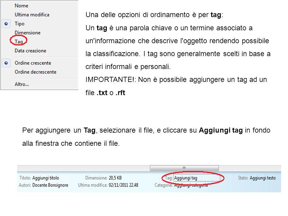 Una delle opzioni di ordinamento è per tag: