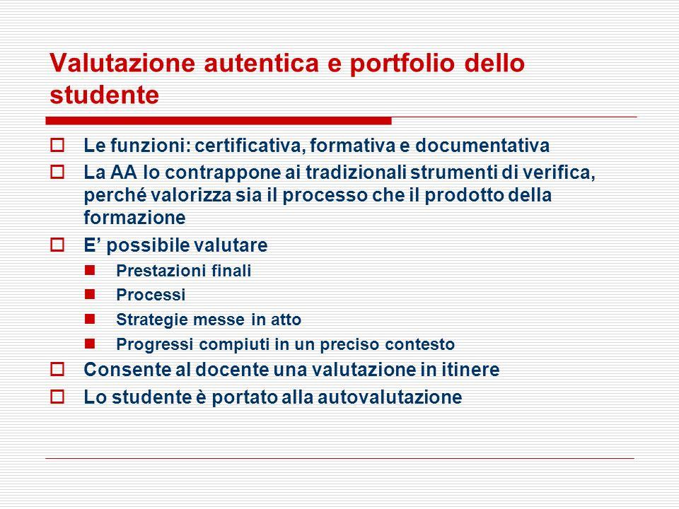 Valutazione autentica e portfolio dello studente