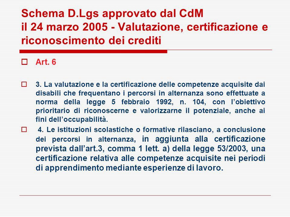 Schema D.Lgs approvato dal CdM il 24 marzo 2005 - Valutazione, certificazione e riconoscimento dei crediti