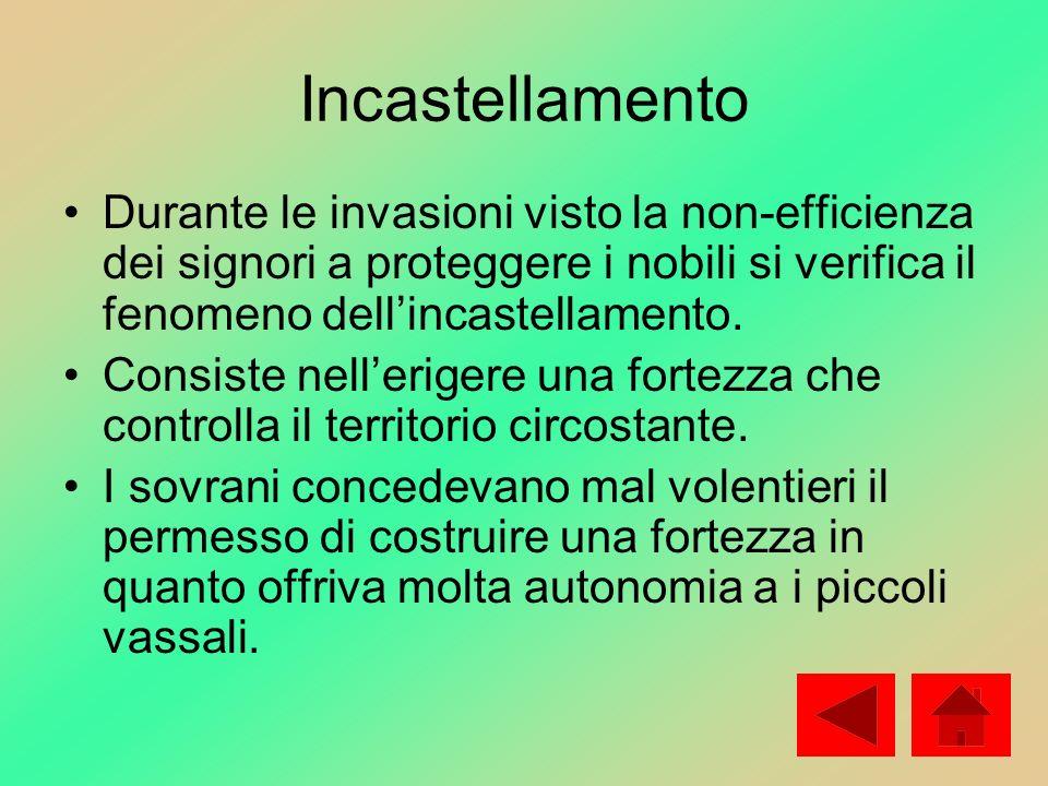 Incastellamento Durante le invasioni visto la non-efficienza dei signori a proteggere i nobili si verifica il fenomeno dell'incastellamento.
