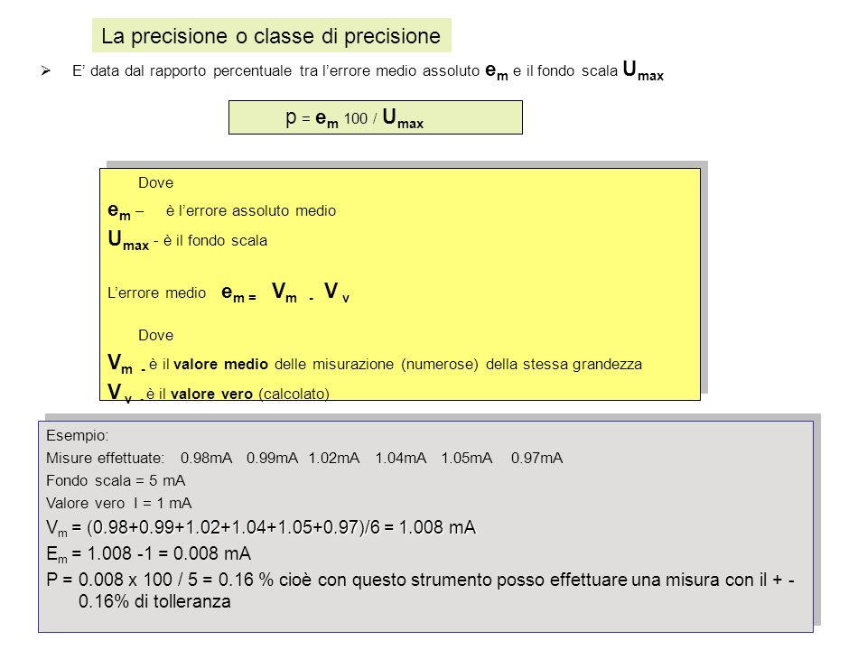La precisione o classe di precisione