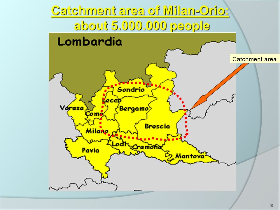 Catchment area of Milan-Orio: