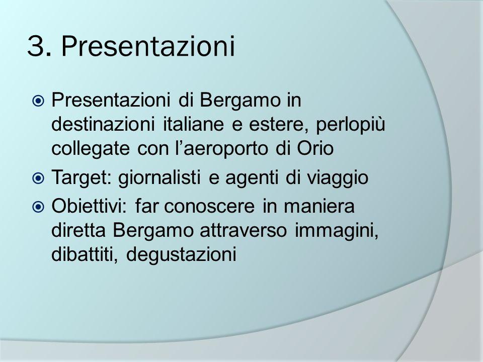3. Presentazioni Presentazioni di Bergamo in destinazioni italiane e estere, perlopiù collegate con l'aeroporto di Orio.