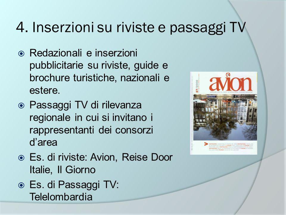 4. Inserzioni su riviste e passaggi TV