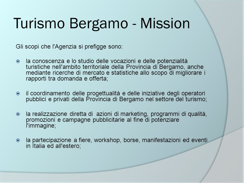 Turismo Bergamo - Mission