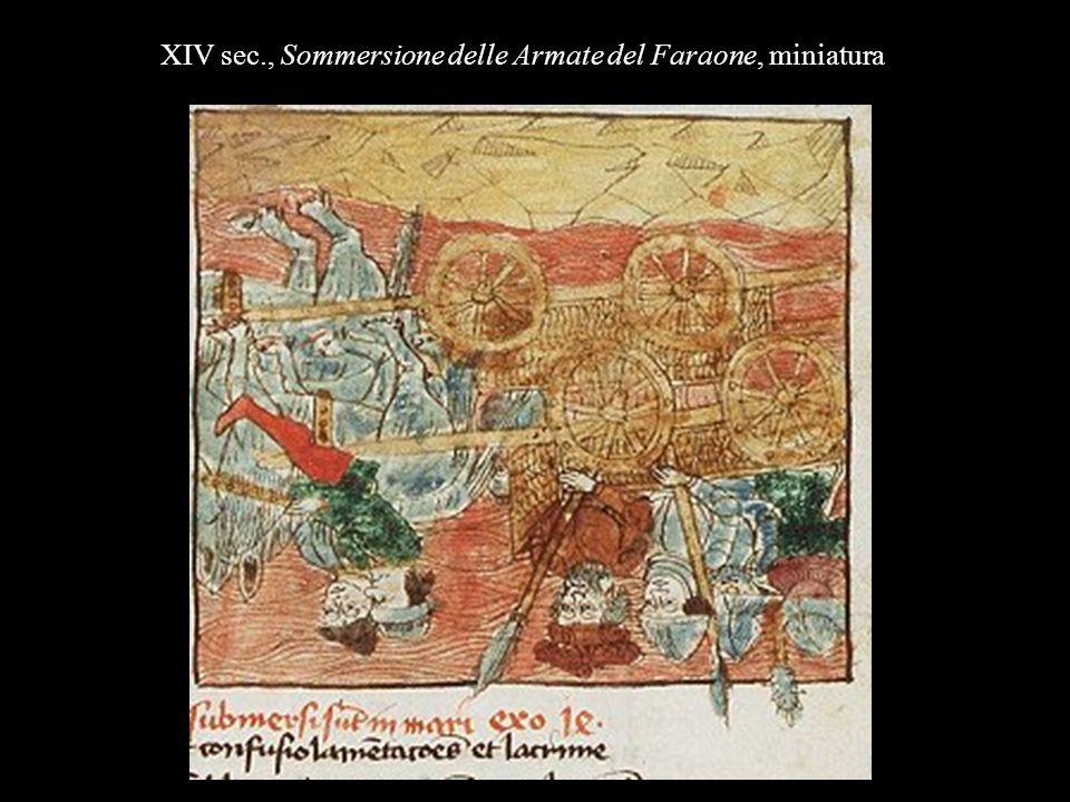 XIV sec., Sommersione delle Armate del Faraone, miniatura