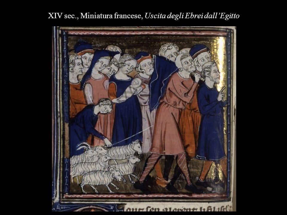 XIV sec., Miniatura francese, Uscita degli Ebrei dall'Egitto