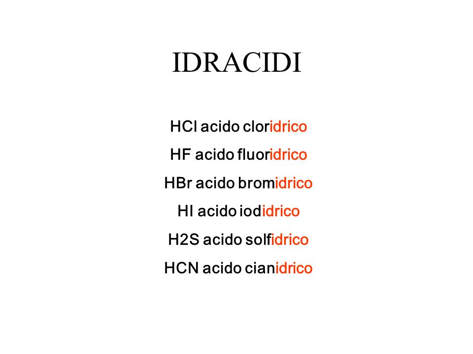 IDRACIDI HCl acido cloridrico HF acido fluoridrico