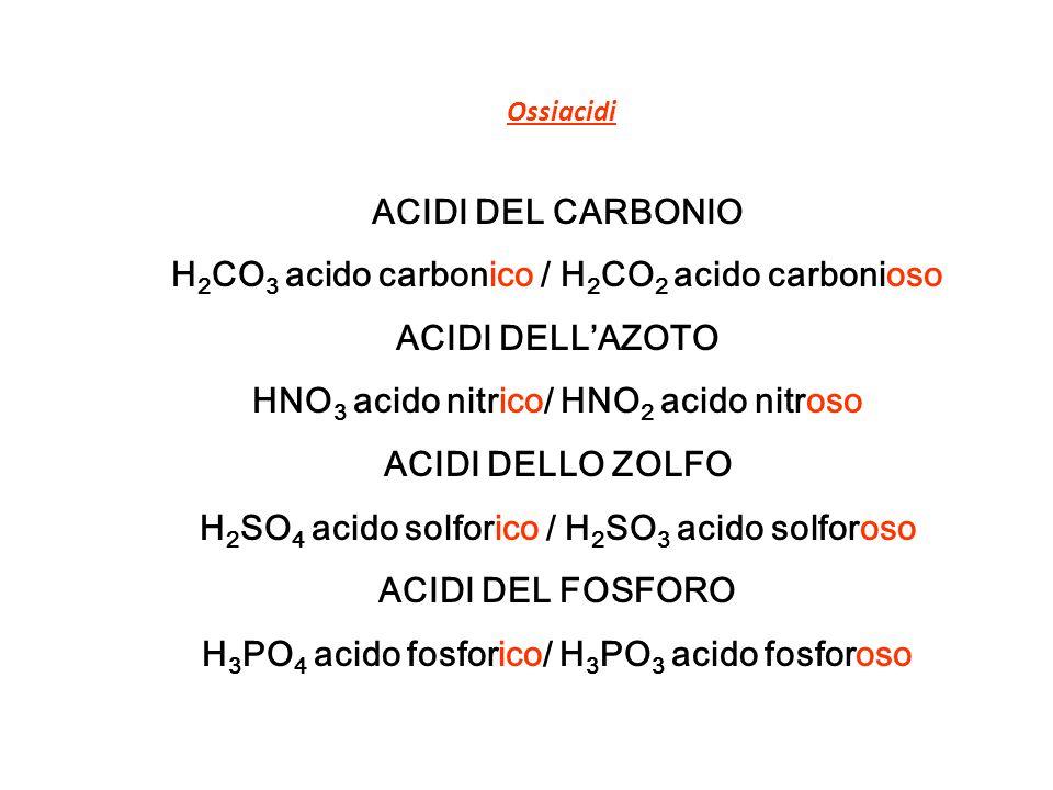 H2CO3 acido carbonico / H2CO2 acido carbonioso ACIDI DELL'AZOTO