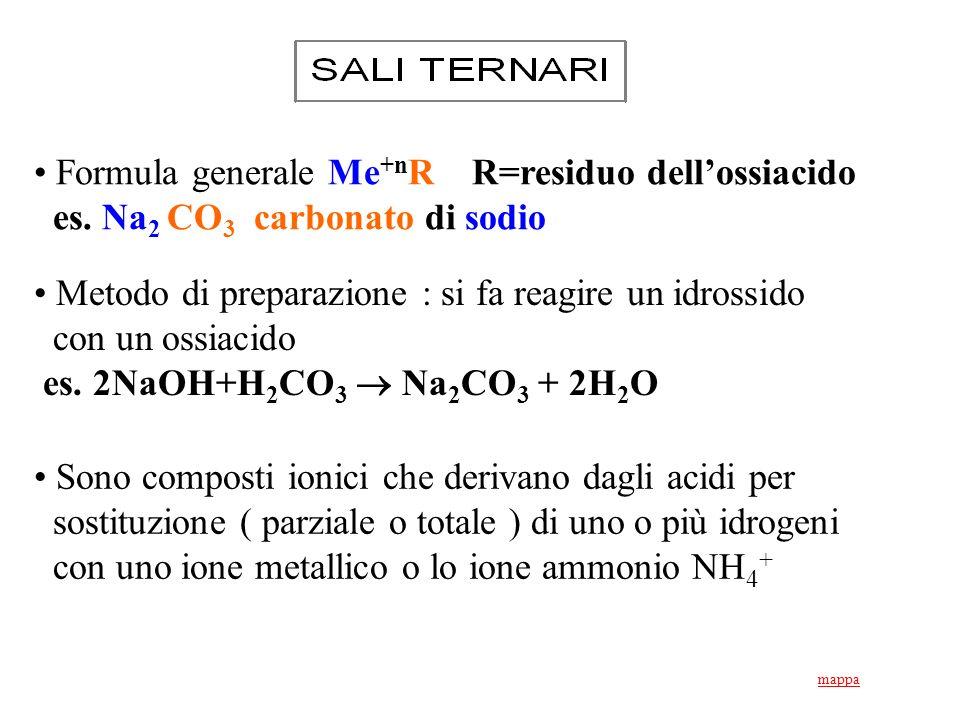 Formula generale Me+nR R=residuo dell'ossiacido