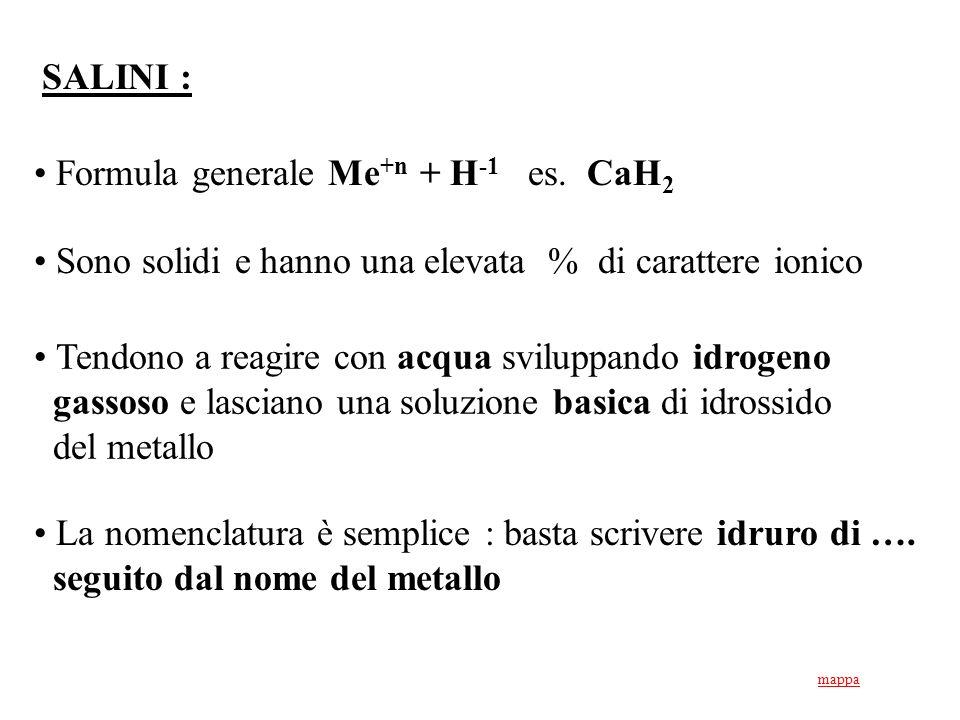 Formula generale Me+n + H-1 es. CaH2