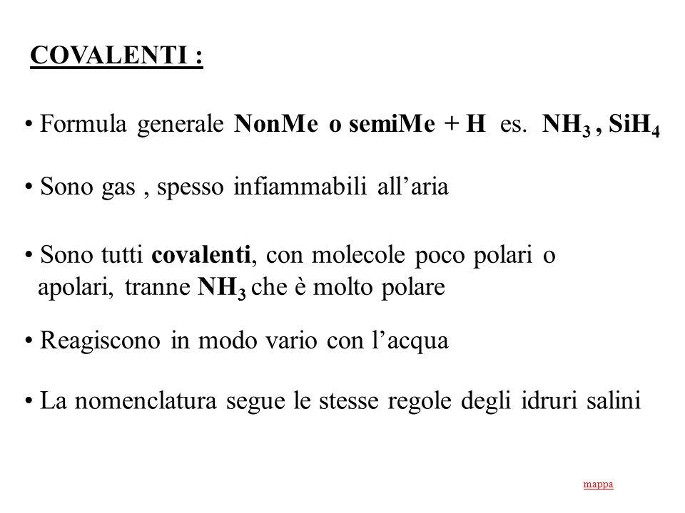 Formula generale NonMe o semiMe + H es. NH3 , SiH4