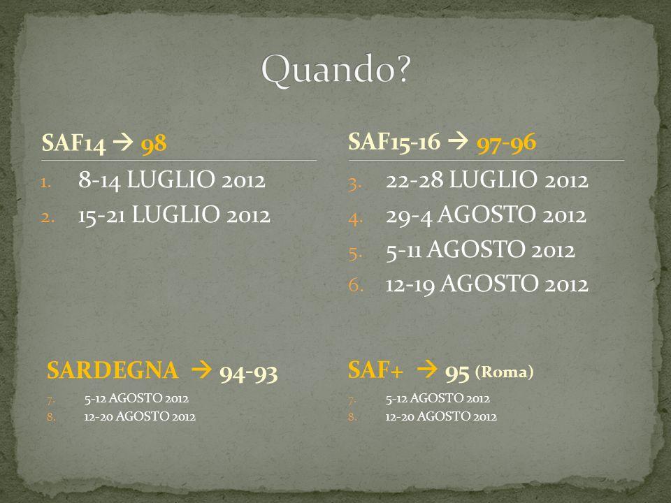 Quando SAF14  98 SAF15-16  97-96 8-14 LUGLIO 2012 15-21 LUGLIO 2012