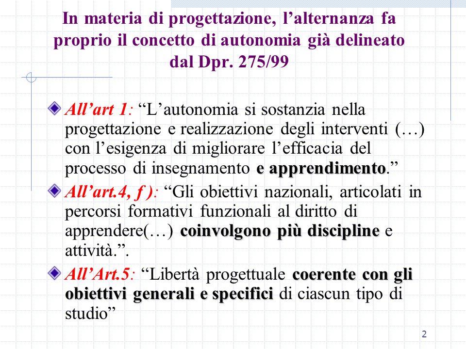 In materia di progettazione, l'alternanza fa proprio il concetto di autonomia già delineato dal Dpr. 275/99