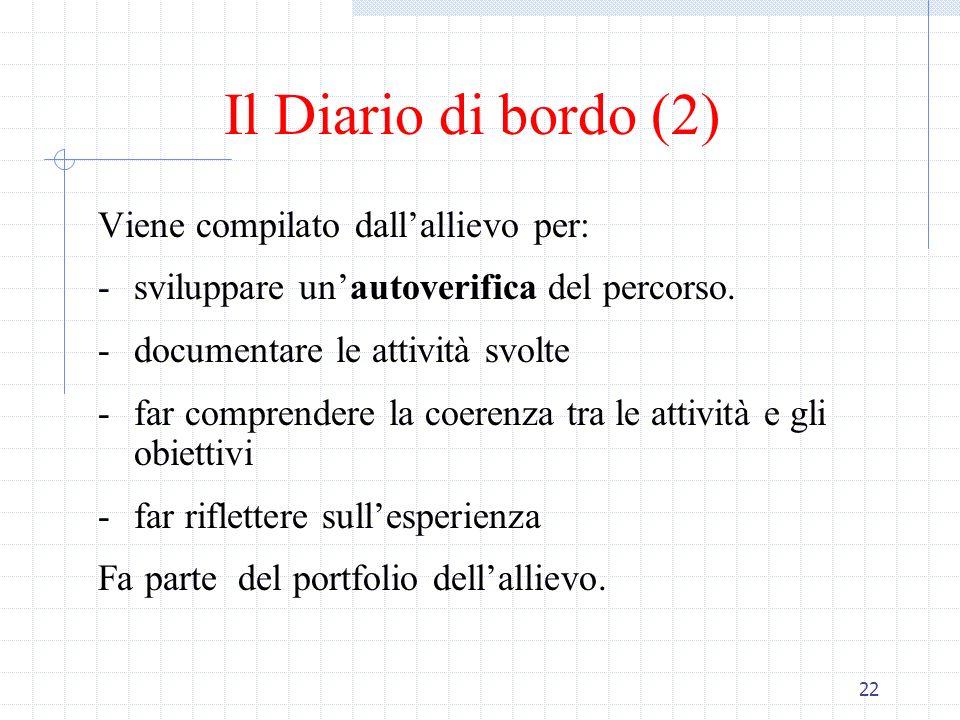 Il Diario di bordo (2) Viene compilato dall'allievo per: