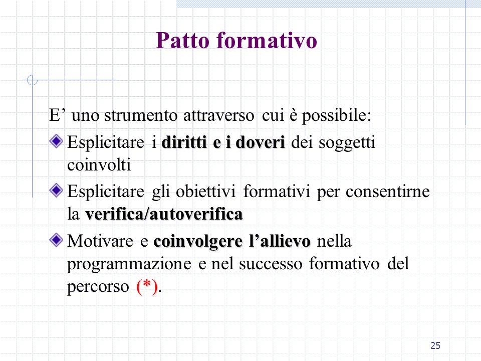 Patto formativo E' uno strumento attraverso cui è possibile: