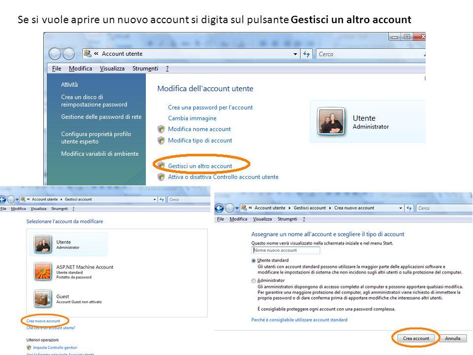Se si vuole aprire un nuovo account si digita sul pulsante Gestisci un altro account