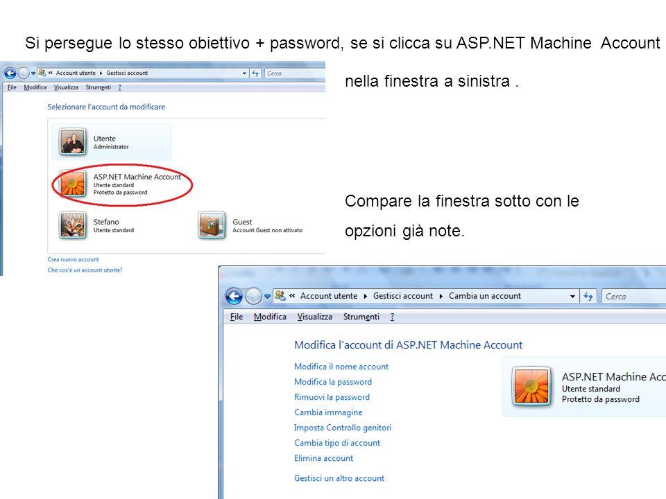 Si persegue lo stesso obiettivo + password, se si clicca su ASP