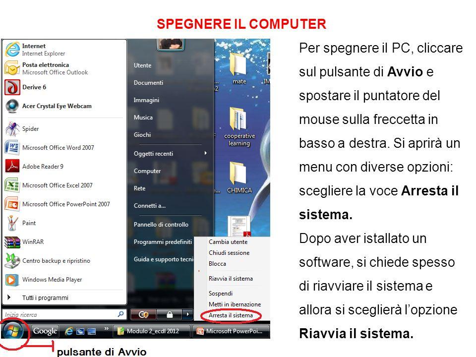 SPEGNERE IL COMPUTER Per spegnere il PC, cliccare.