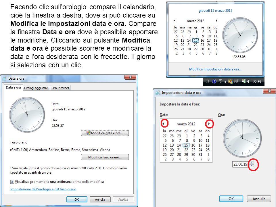 Facendo clic sull'orologio compare il calendario, cioè la finestra a destra, dove si può cliccare su Modifica le impostazioni data e ora.