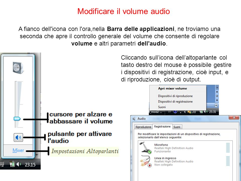Modificare il volume audio